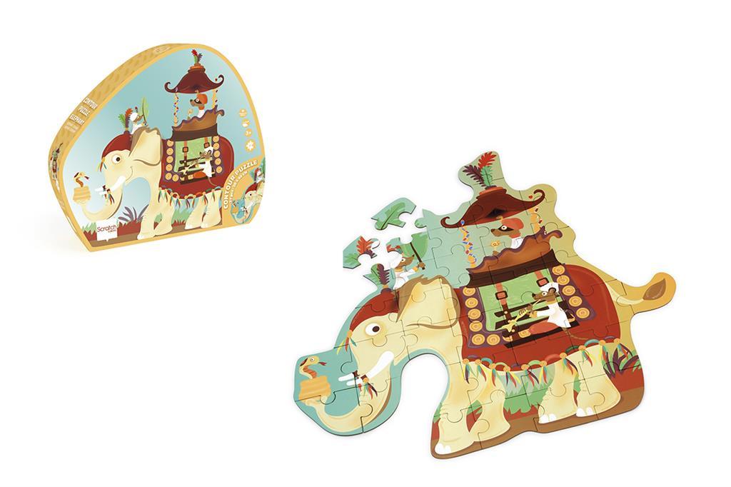 6181129 Puzzel olifant, contour, scratch europe